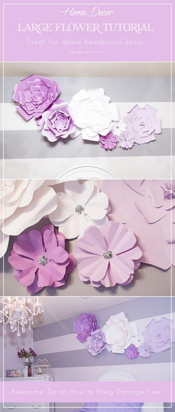 DIY Large Paper Flowers Blooms above Headboard
