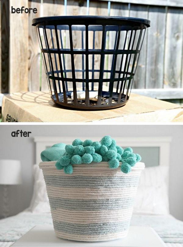 DIY Dollar Store Rope Basket