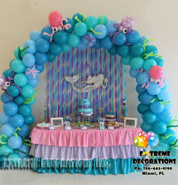 Little Mermaid Under the Sea Balloon Arch.