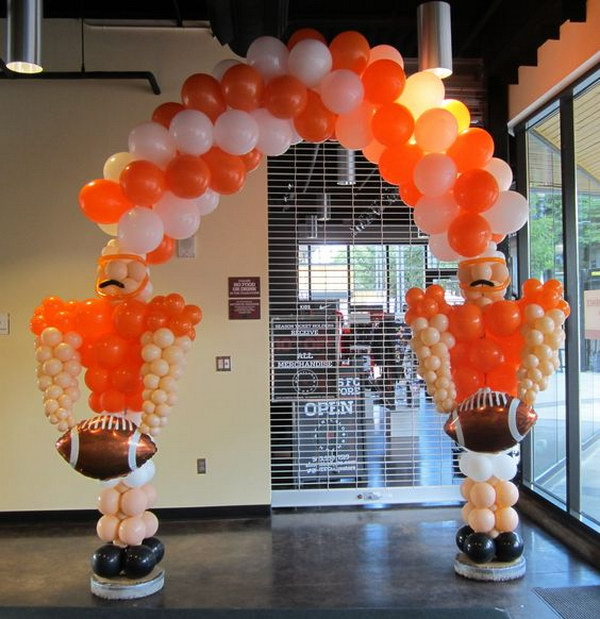 Football Player Balloon Arch.