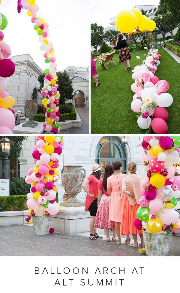 DIY Balloon Arch with Flowers.