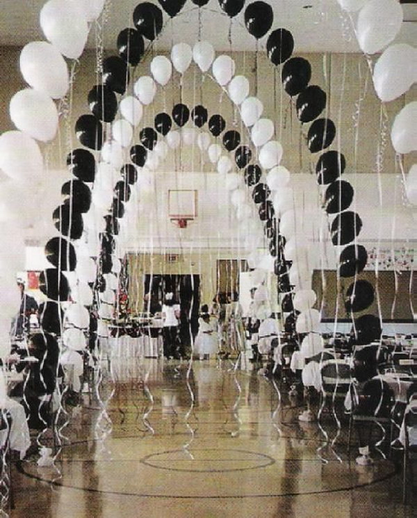 Black and White Themed Balloon Arches with Streamers.