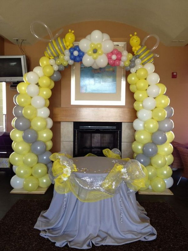 Bee Themed Balloon Arch for Baby Shower.