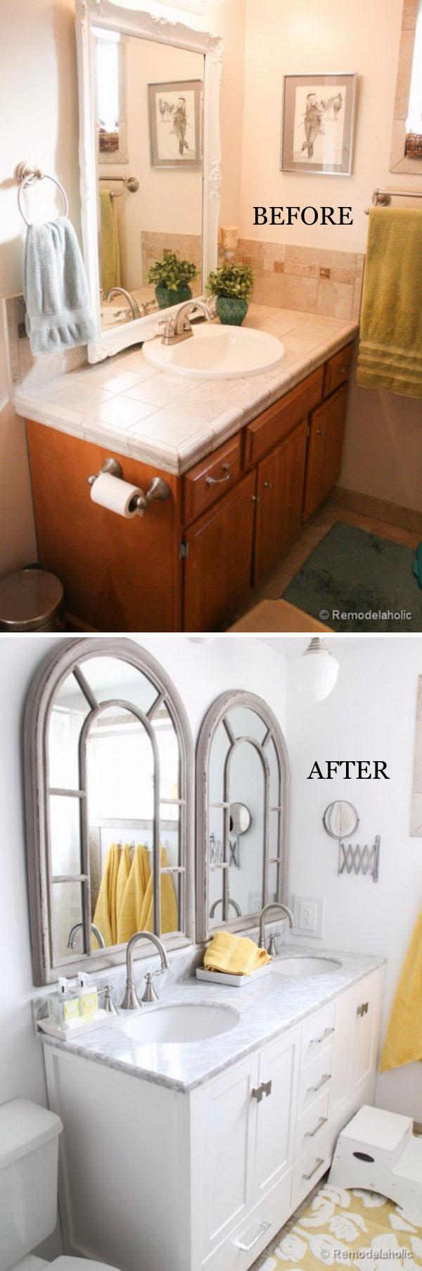 From Single Sink Vanity to Double Sink Bathroom Remodel.
