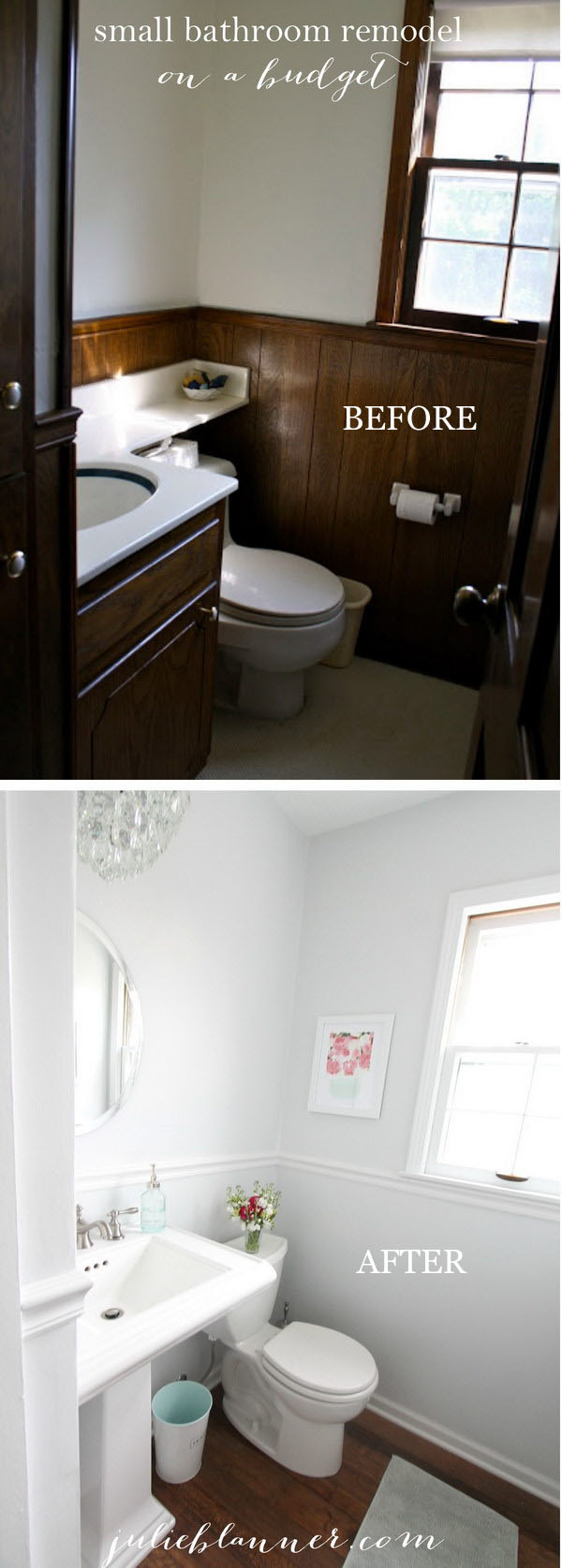 Half Bathroom Remodel Which Turn the Space From Dark And Dated To Bright And Open.