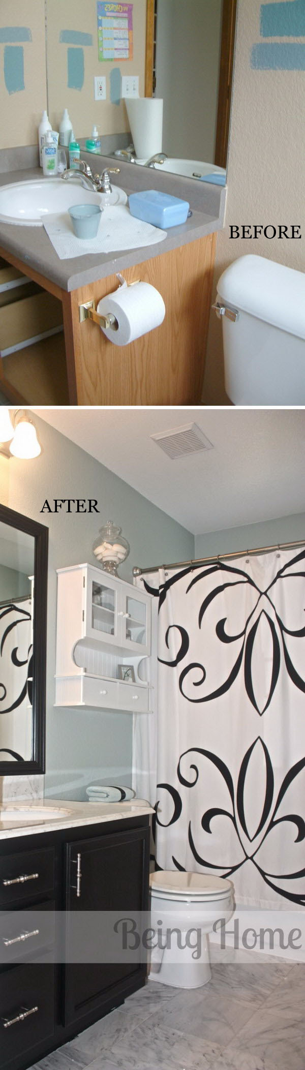 Bathroom Makeover With Before and After.
