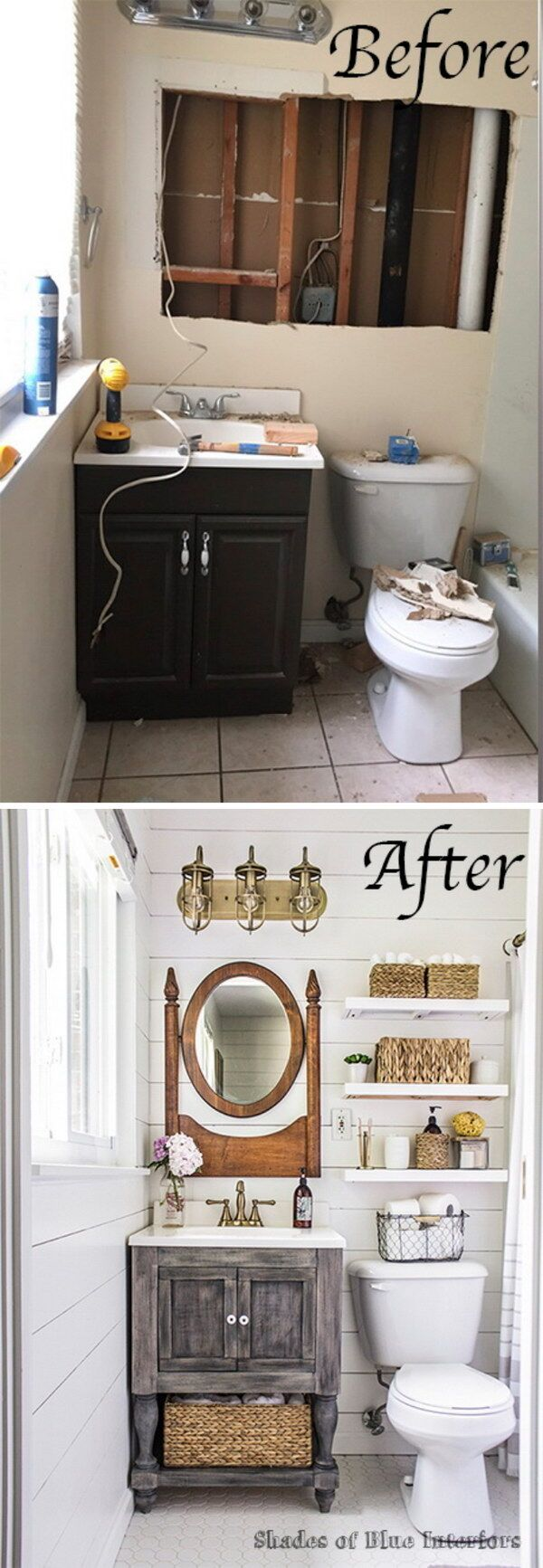 Before and After Master Bathroom Makeover.