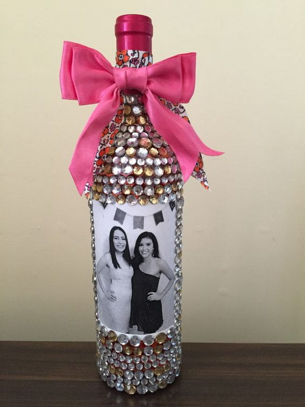 Bedazzled Wine Bottle with Photos.