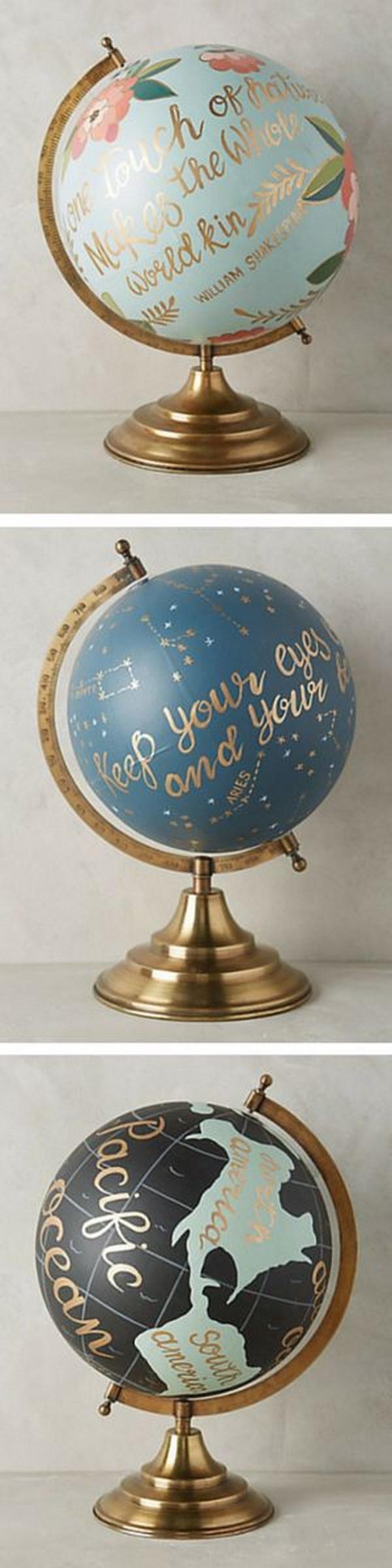Handpainted Wanderlust Globe.