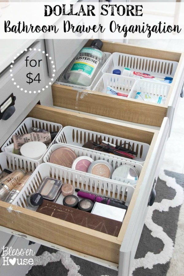 Bathroom Drawer Organization with Plastic Baskets.