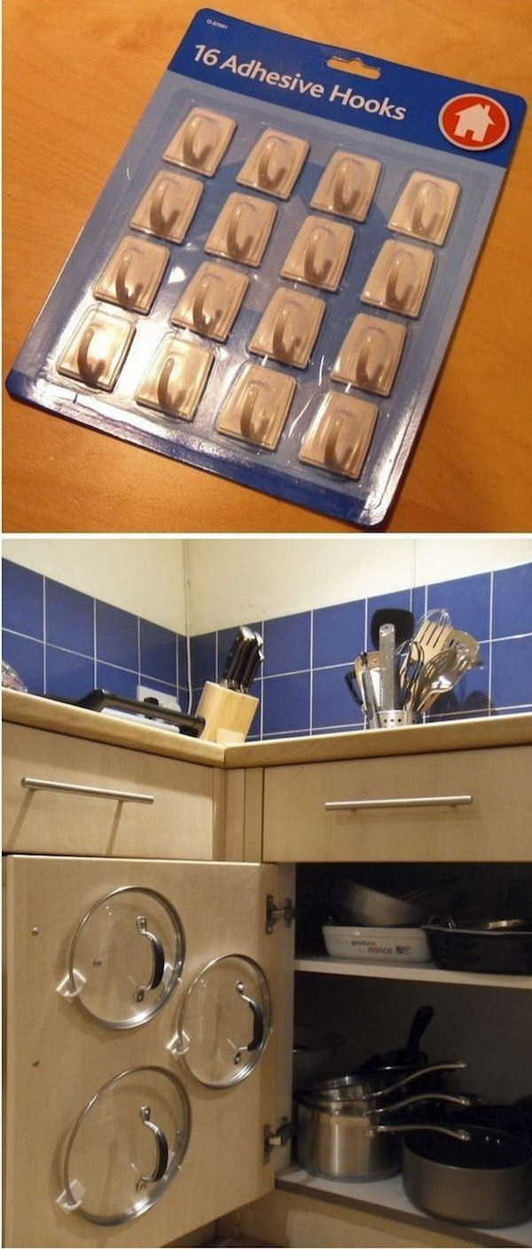 Lids Storage with Adhesive Hooks.