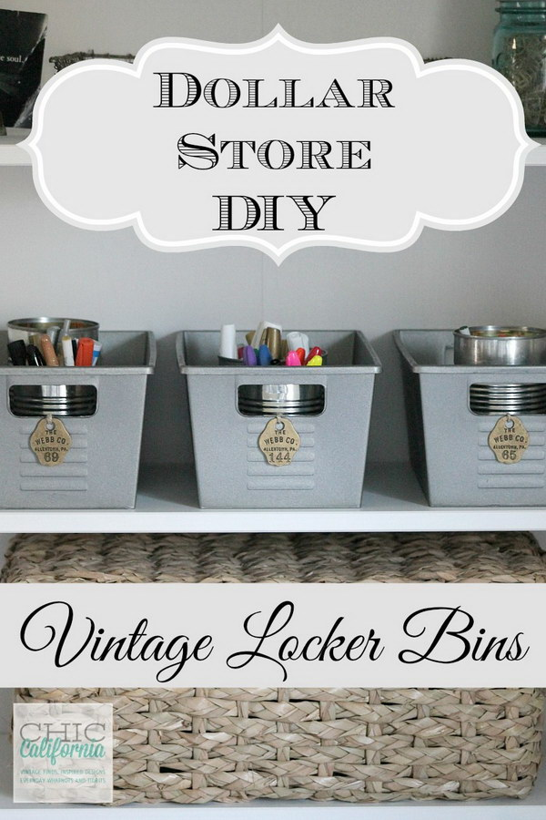 Dollar Store DIY – Vintage Locker Bins.
