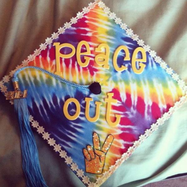 Tie Dye Peace Out Graduation Cap