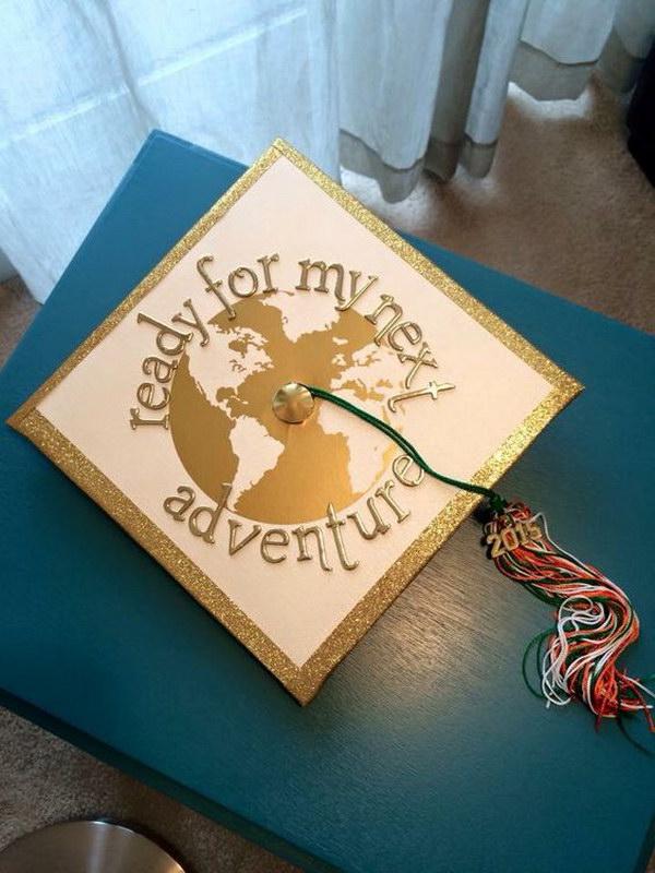 Chic World Travel Themed Grad Cap
