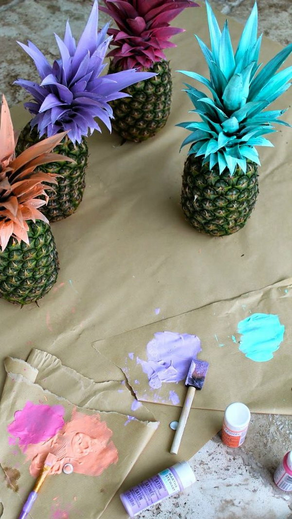 Painted Pineapples For Graduation Party Decor