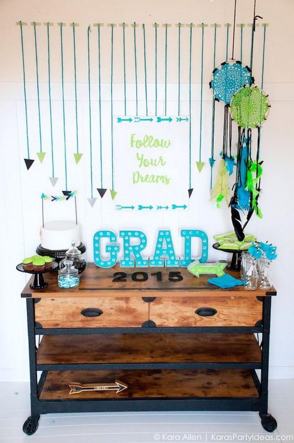 Follow Your Dreams Arrow Dreamcatcher Graduation Party Decor.