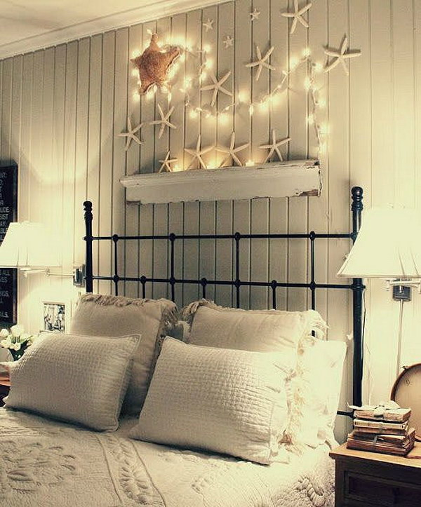 Starfish with Christmas Lights for Headboard Wall Decor.