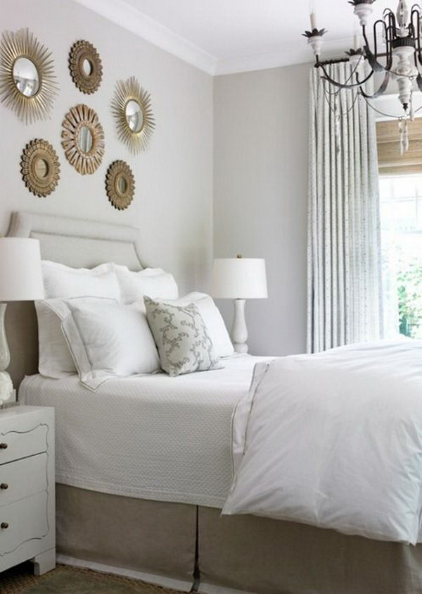 Small Mirrors Above Bed.