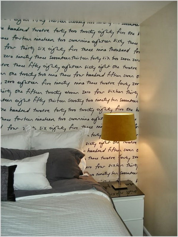 Fun Printed Fabric Headboard Wall Design.
