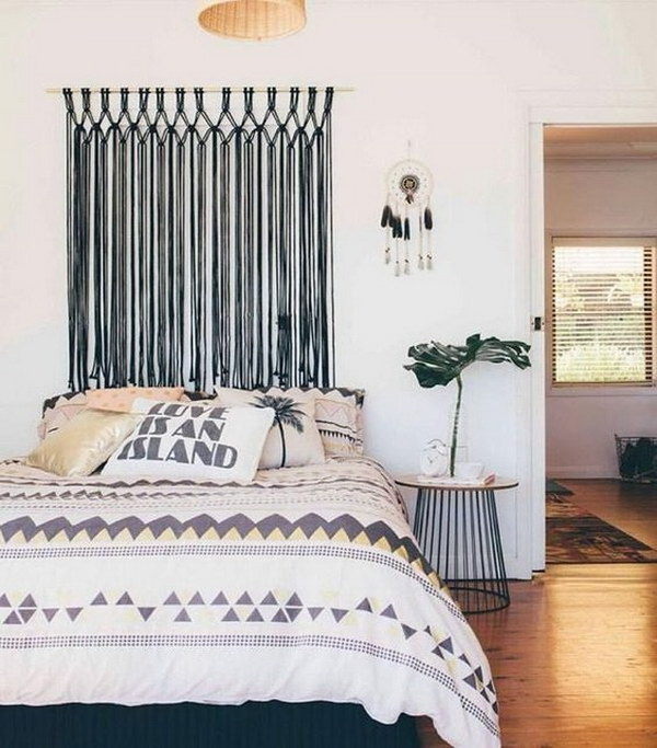 A Macrame Wall Hanging Makes for The Perfect Headboard Alternative.