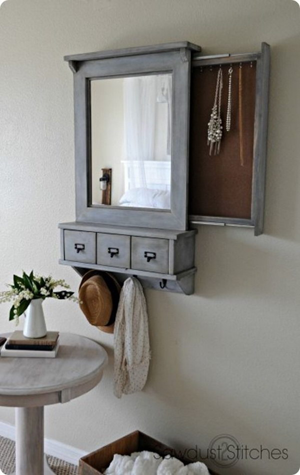 Pottery Barn Inspired Wall Mirror with Hidden Storage for Jewelry, Keys.