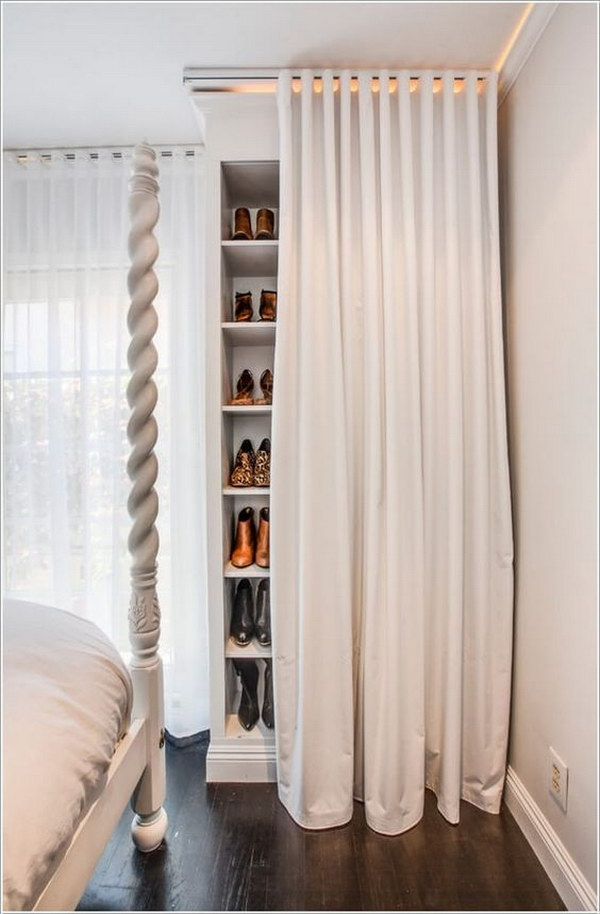 Shoe Storage Closet Behind a Curtain.