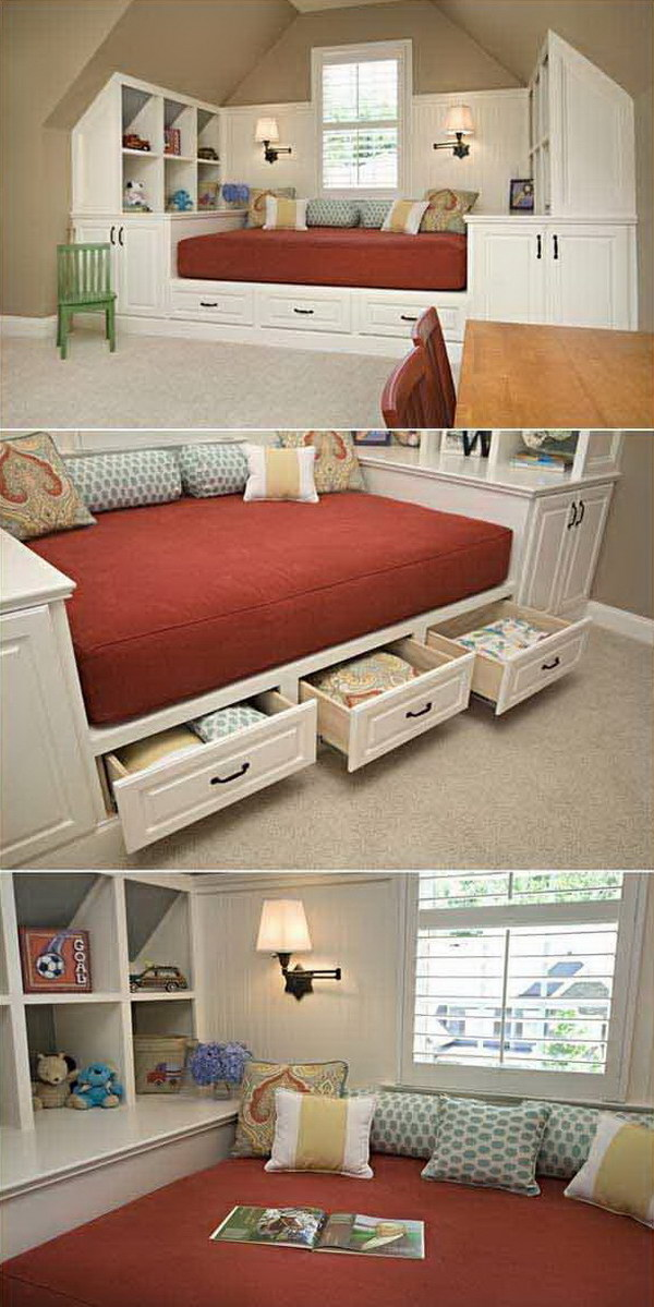 Building a Bed with Hidden Storage under a Slanted Ceiling.