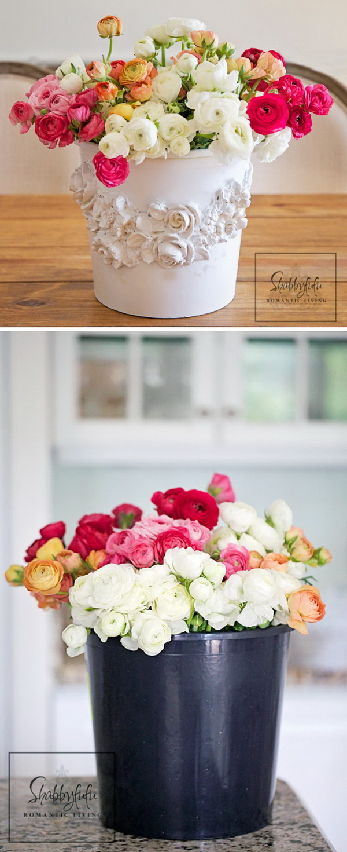 Black Plastic Bucket Turned Shabby Chic Florist Bucket
