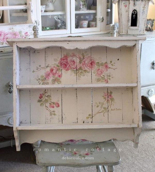 Shabby Chic Large Vintage Style Roses Shelf.