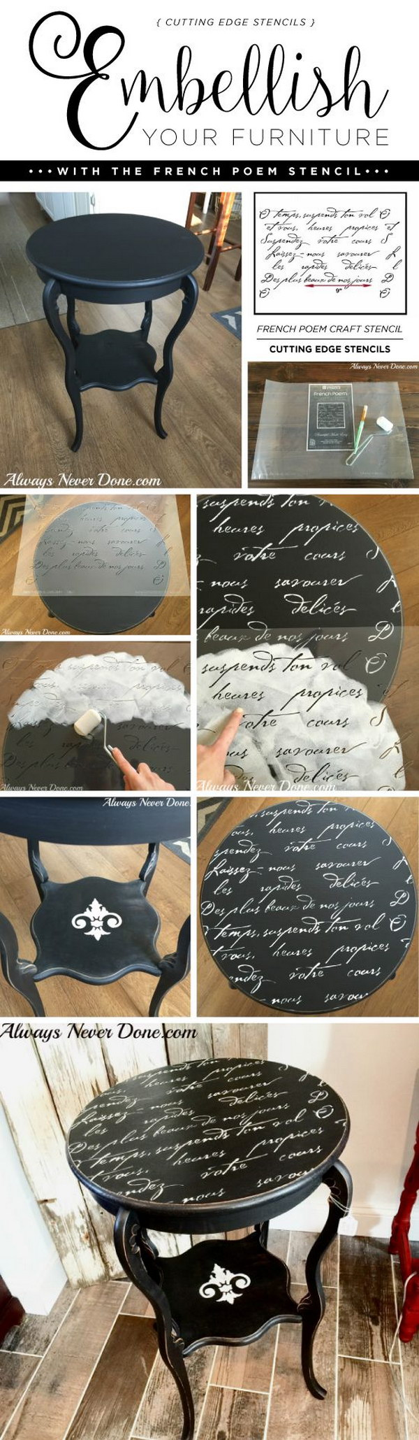 Embellish Your Furniture With the French Poem Stencil.