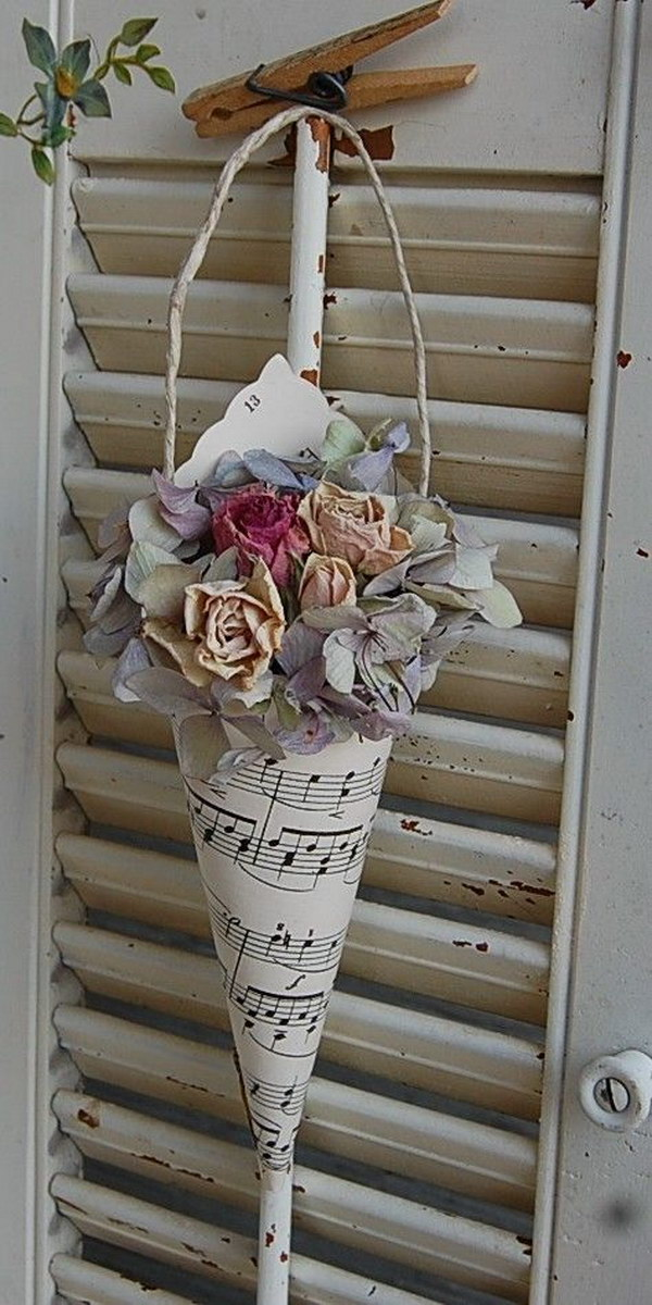 Vintage Hymnal Sheet Music Cone