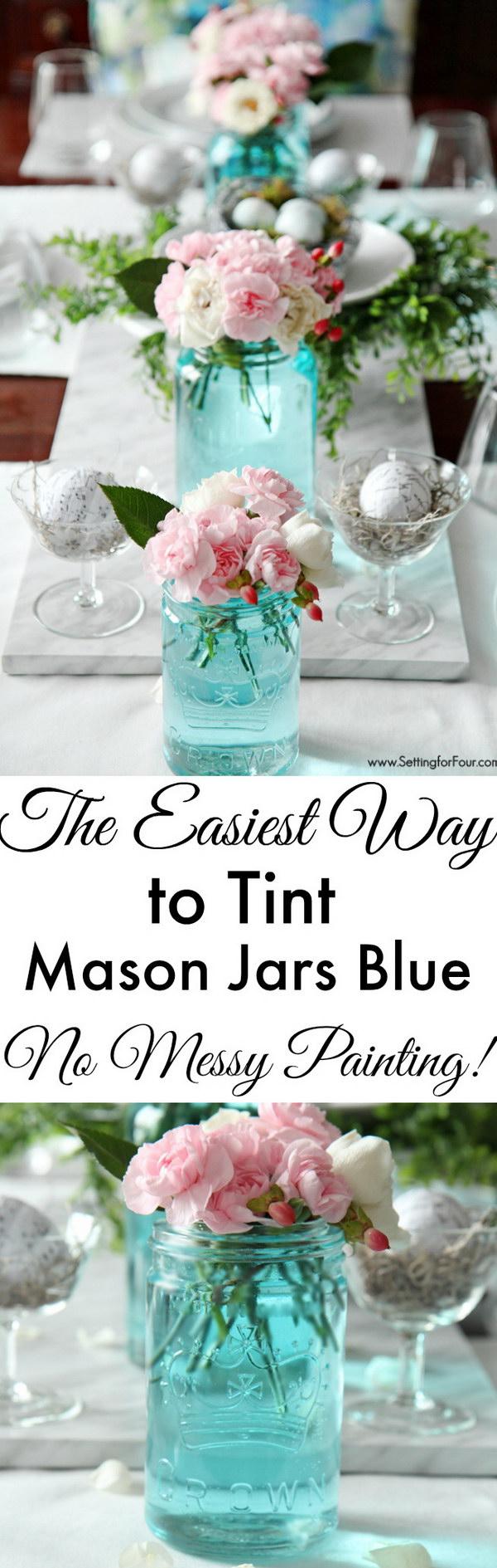 Beautiful Tint Mason Jars Blue