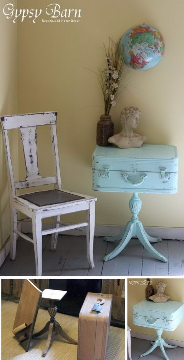 DIY Shabby Chic Turquoise Trunk Makeover