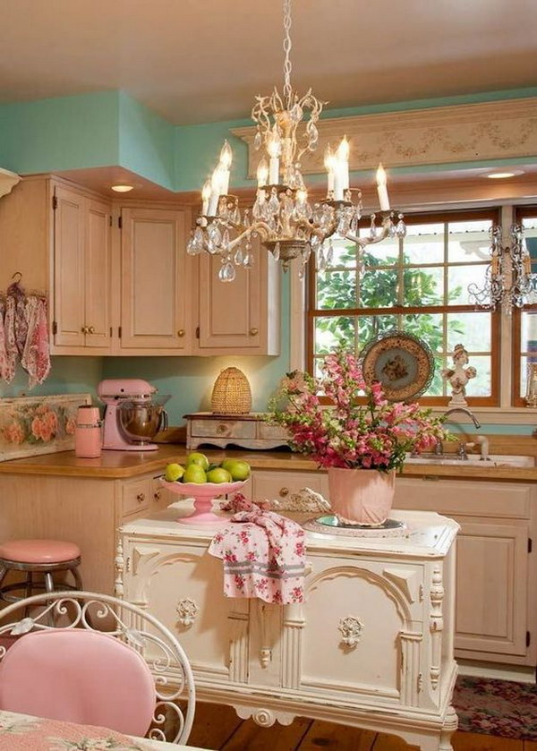 Vintage Shabby Chic Kitchen in Cream and Pastel Colors.
