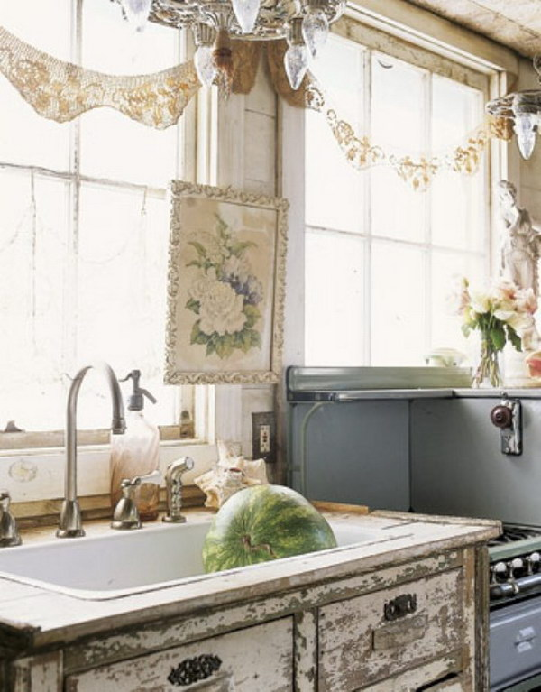 Shabby Chic Kitchen Window Treatment and Sink.