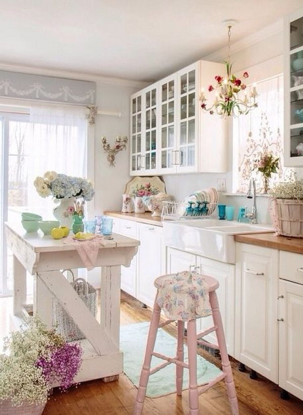 Shabby Chic Kitchen Island and Pale Pink Hign Stools.