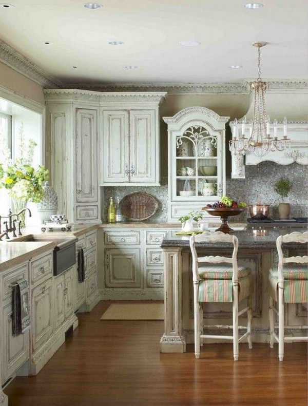Shabby Chic Kitchen with Vintage Wood Cabinets.