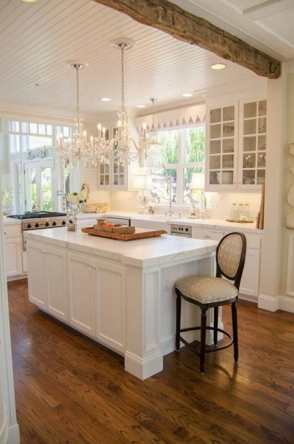Rustic Chic Kitchen with White Cabinets.