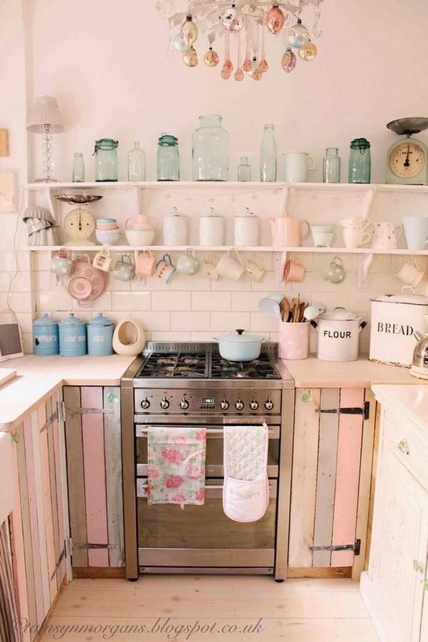 Pastel Pallet Cabinet Doors and Open Shelving.