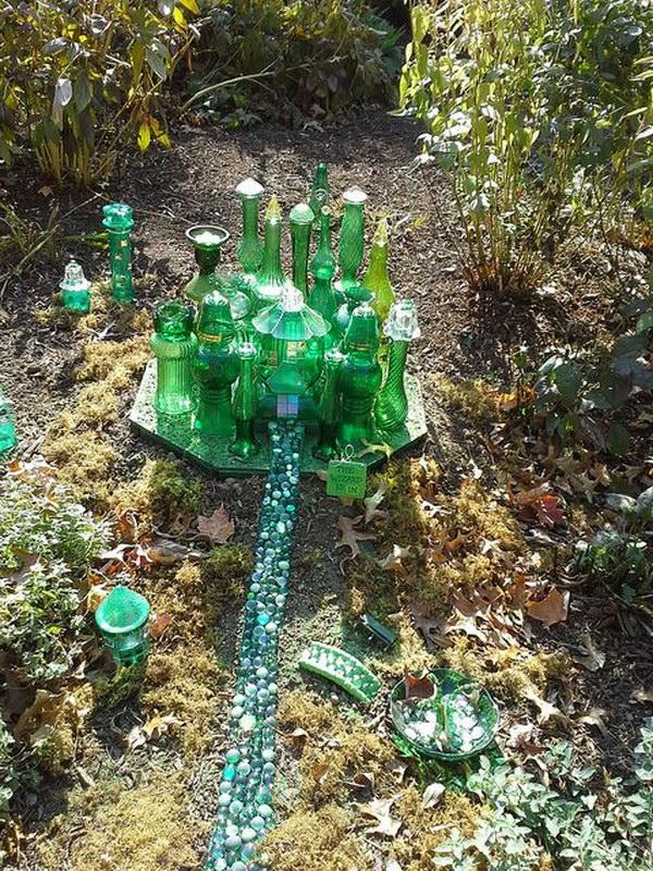 Vintage Green Glass Fairy Garden.
