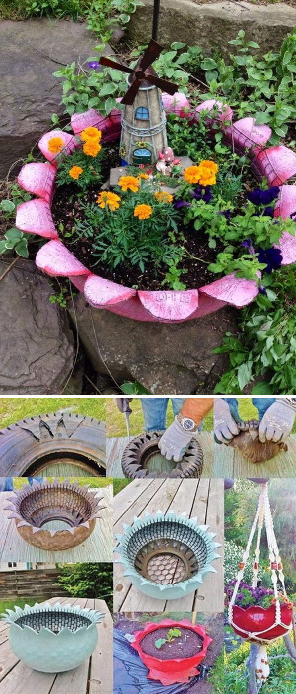 Upcycled Tire Fairy Garden.