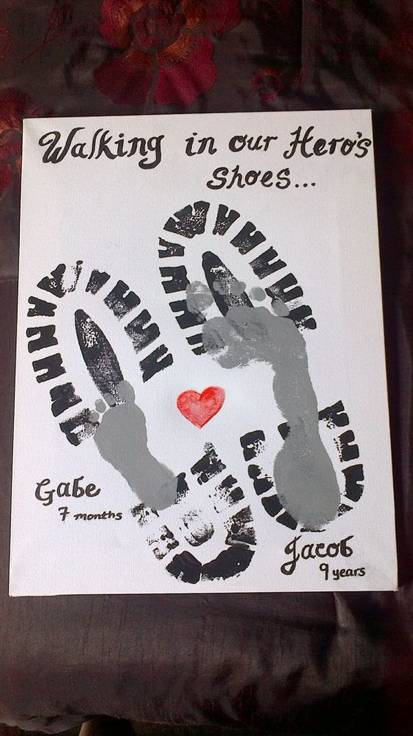 Footprint of Father and Son with Heart and Slogan: Walking in My Hero's shoes