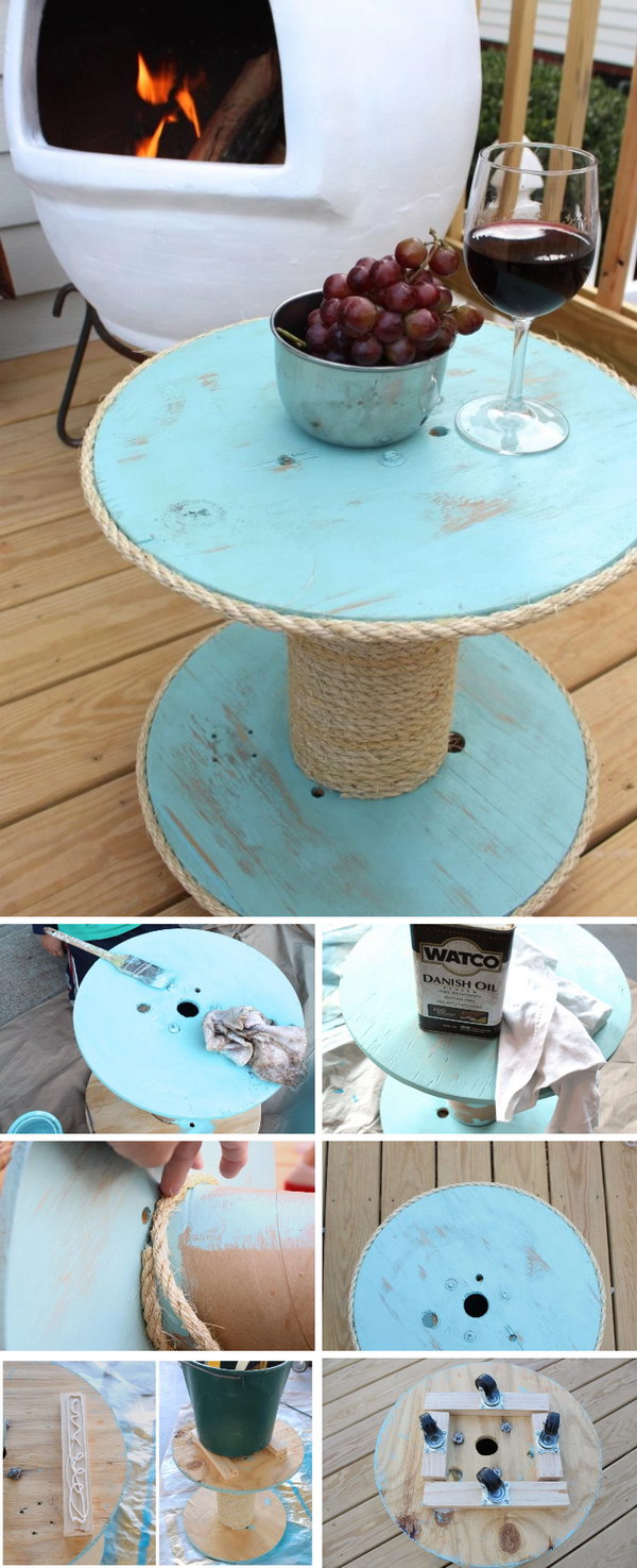 DIY Nautical Spool Side Table for under $12
