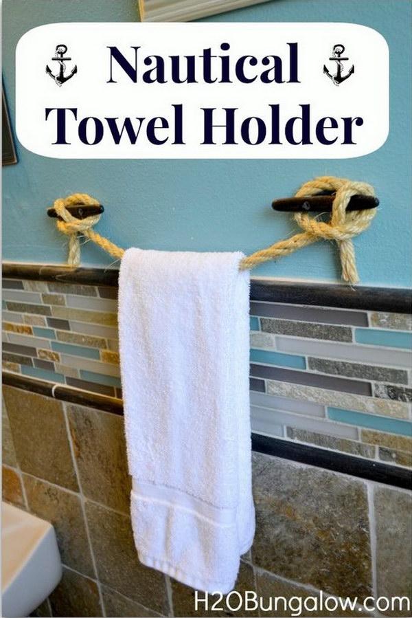 DIY Nautical Rope Towel Holder