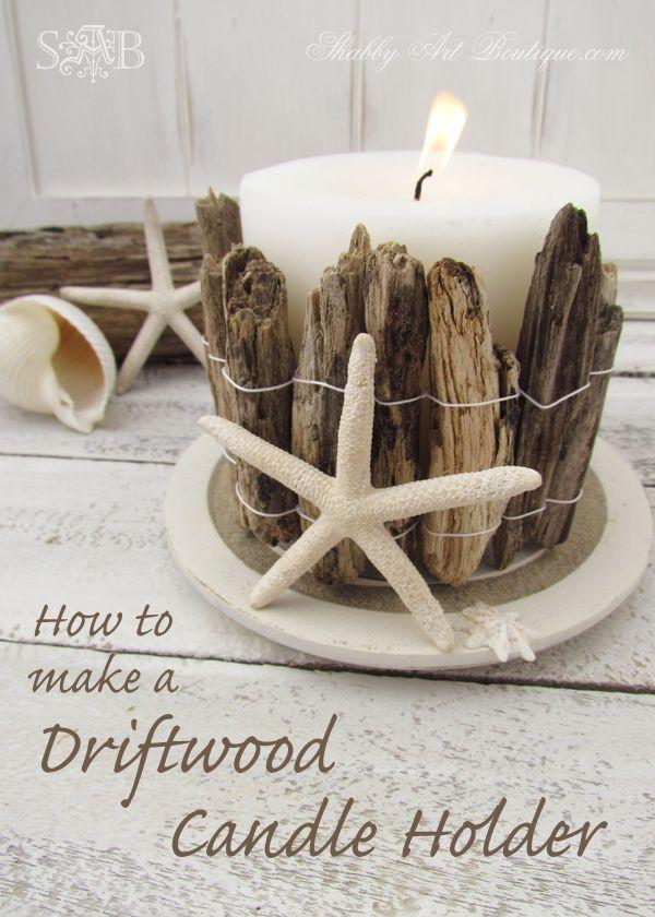 Driftwood Coastal Candle Holder