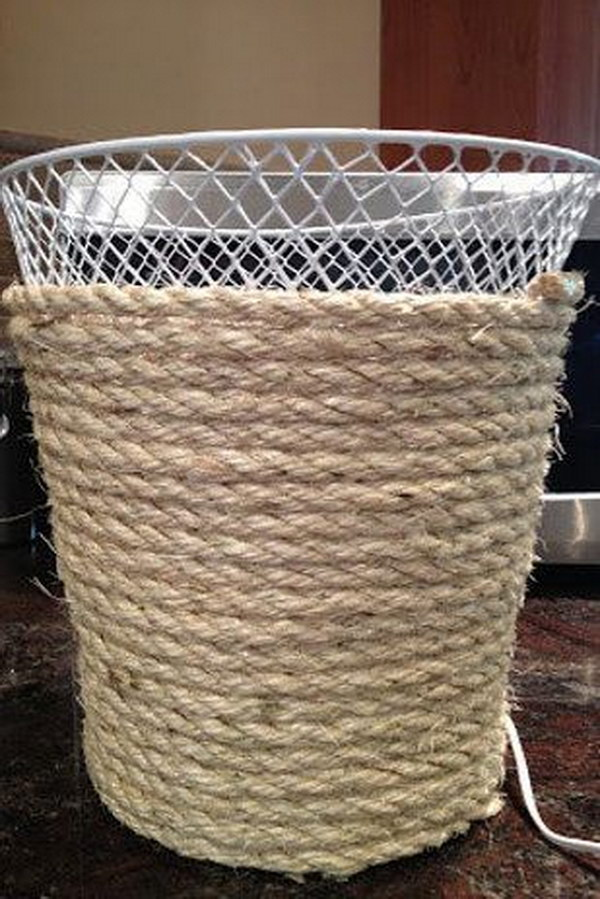 DIY Dollar Store Trash Can Makeover Using Rope.