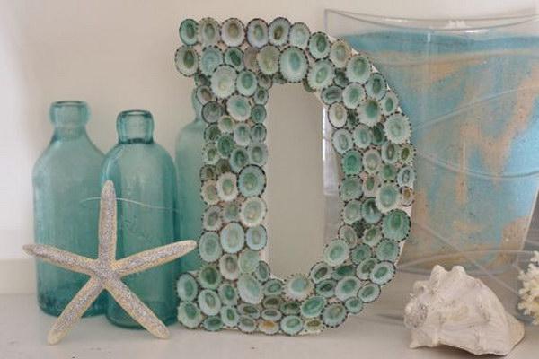 Aqua Seashell Letter Monogram