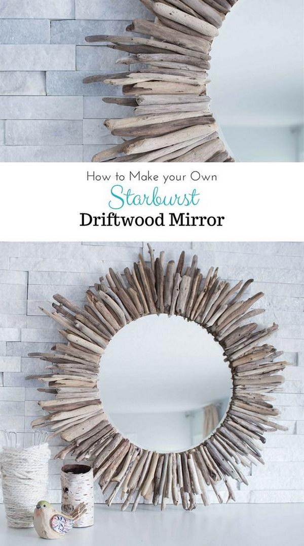 DIY Round Driftwood Mirror