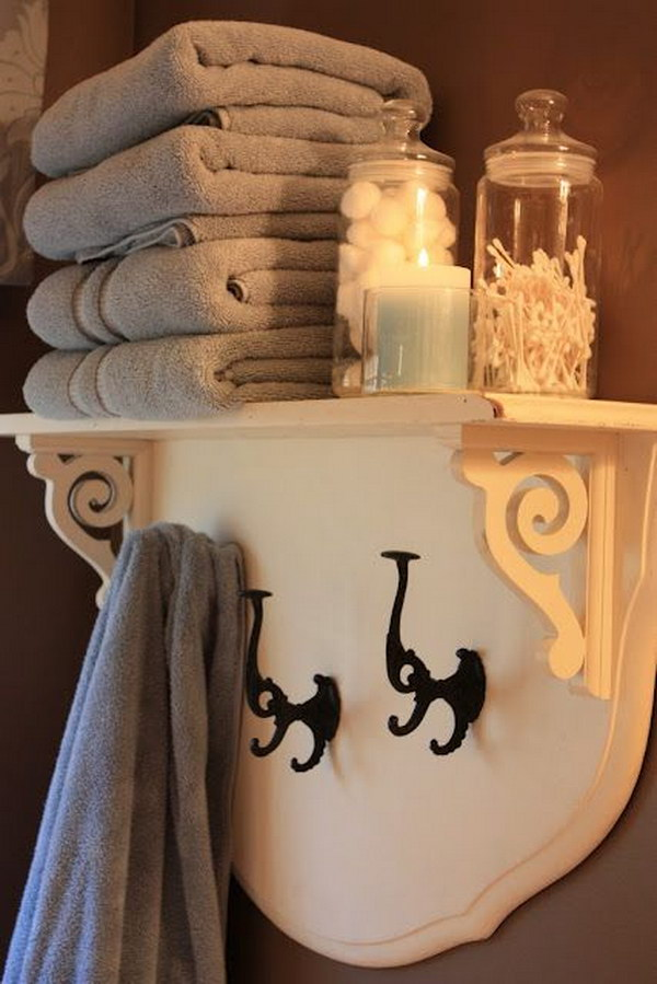 Headboard Shelf With Brackets And Vintage Iron Hooks