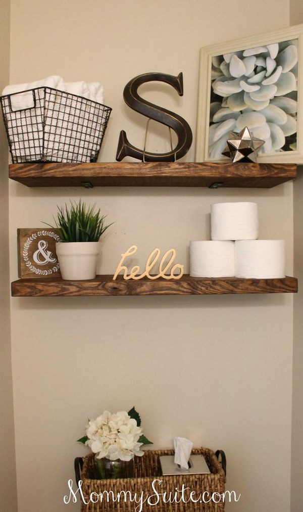 Rustic DIY Faux Floating Shelves